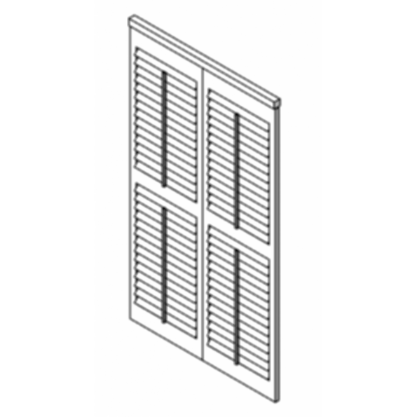 Luxaflex Countrywoods Shutters Track BiFold-2 Panels For Revit