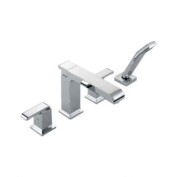 Roman Tub/Whirlpool Faucet Trim,Two Handle, Lever Type, Four-Hole, Spray Handle, 18 gal/min
