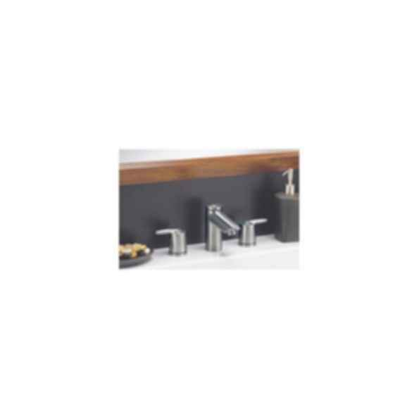 Lavatory Faucet, Grail™ Series, Widespread, Brass Body, Stainless Steel Finish, Two Handle