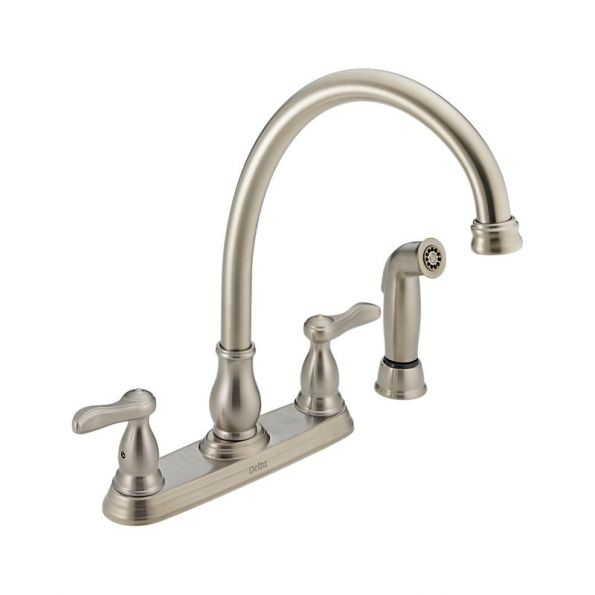 Two Handle Kitchen Faucet With Spray 4 Hole 8 Brilliance Stainless Steel