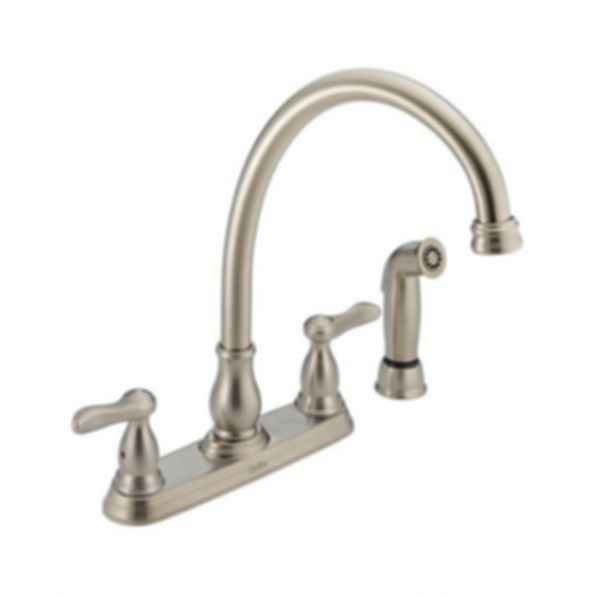 Two Handle Kitchen Faucet with Spray Handle, 4-Hole 8 Brilliance® Stainless Steel Finish