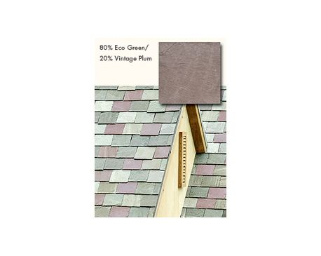 GAF: Slate Roofing, TruSlate Eco Green, 60% Eco Green, 20% Greystone, 20% Vintage Plum