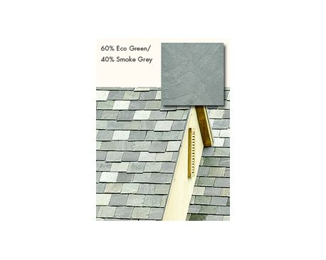 GAF: Slate Roofing, TruSlate Eco Green, 60% Eco Green, 40% Smoke Grey