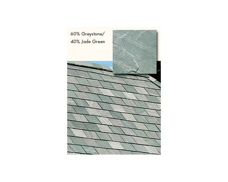 Slate Roofing, TruSlate Greystone, 80% GreyStone, 20% Jade Green