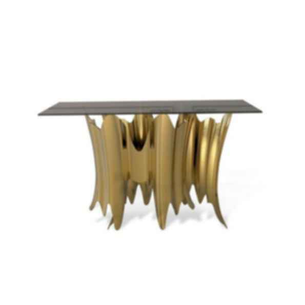 Obssedia Glass and Aluminum Console Table