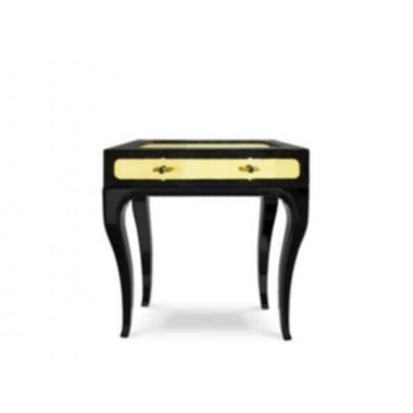 Exotica Lacquered Leather Bedside Table with Drawers