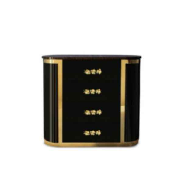 Orchidea Lacquered Oval Bedside Table with Drawers