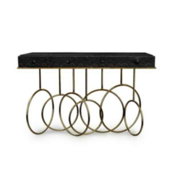 Burlesque Leather Console Table with Drawers