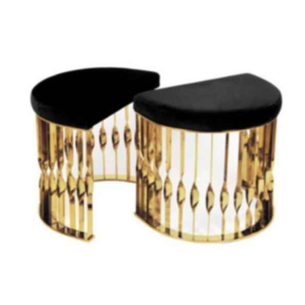 Mandy Low Upholstered Brass Stool
