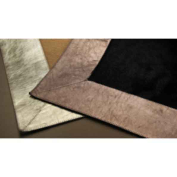 Rectangular Cow hide rug METALLIC NICKEL