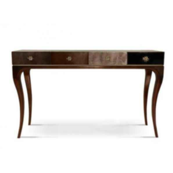 Untamed Rectangular Leather Console Table with Drawers