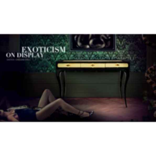 Exotica Rectangular Leather Console Table with Drawers