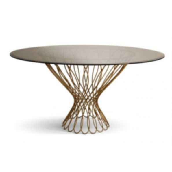 Allure Round Glass and Iron Dining Table
