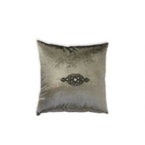 Square velvet cushion PEWTER JEWEL