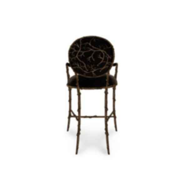 Enchanted Upholstered Brass Counter Stool With Armrests