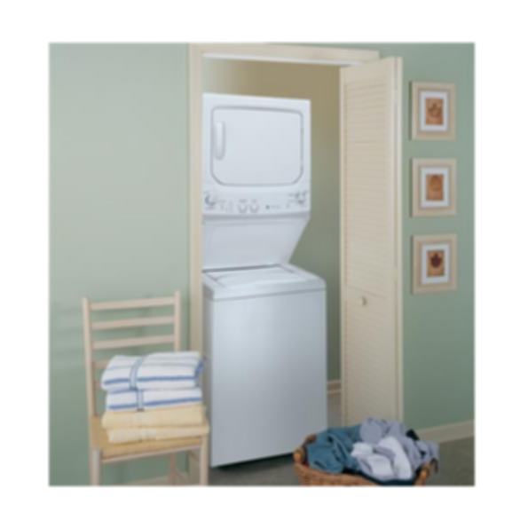 GE Unitized Spacemaker® 3.4 DOE cu. ft. stainless steel Washer and 5.9 cu. ft. Gas Dryer