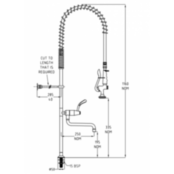 TF80HJP Ezy-Wash Pre Rinse Food Service Tap by Galvin Engineering