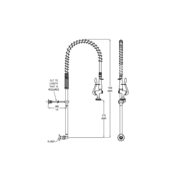 TF80W-S Ezy-Wash Pre Rinse Food Service Tap by Galvin Engineering