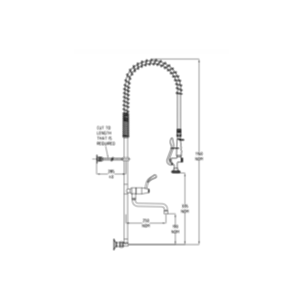TF80WJP Ezy-Wash Pre Rinse Food Service Tap by Galvin Engineering