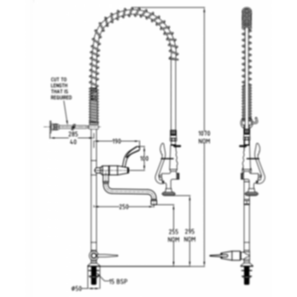 TF81HJP Ezy-Wash Pre Rinse Food Service Tap by Galvin Engineering