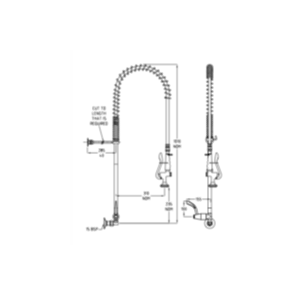 TF81WJS Ezy-Wash Pre Rinse Food Service Tap by Galvin Engineering