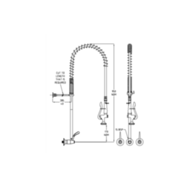 TF82WJS Ezy-Wash Pre Rinse Food Service Tap by Galvin Engineering