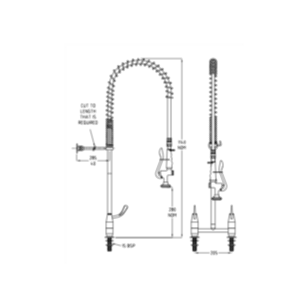 TF83HJS Ezy-Wash Pre Rinse Food Service Tap by Galvin Engineering