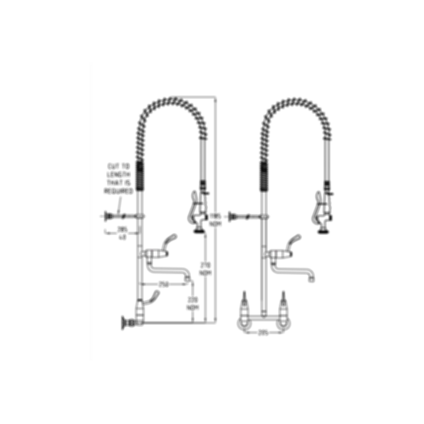 TF83WJP Ezy-Wash Pre Rinse Food Service Tap by Galvin Engineering