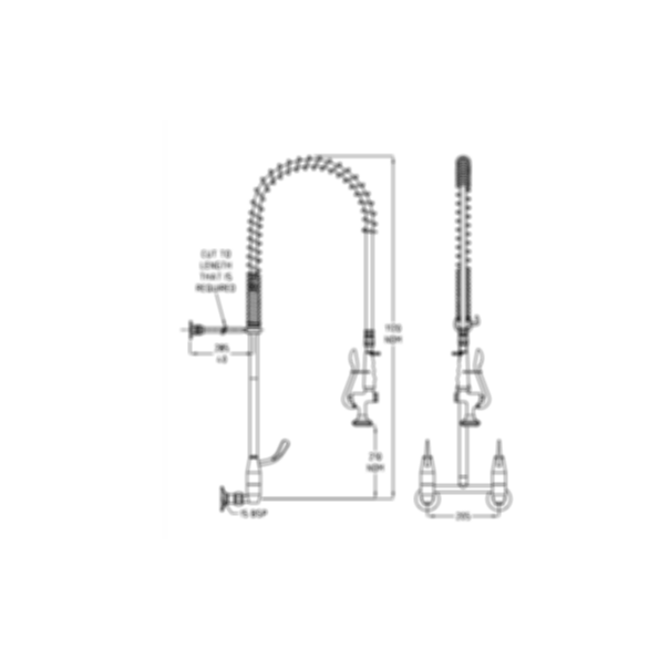 TF83WJS Ezy-Wash Pre Rinse Food Service Tap by Galvin Engineering