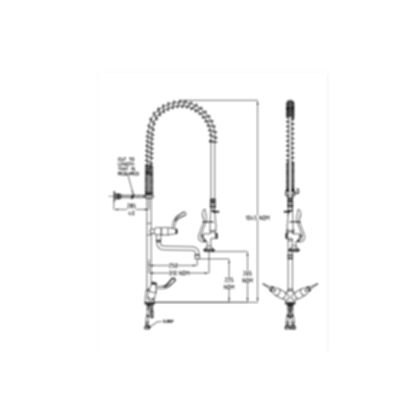 TF84HJP Ezy-Wash Pre Rinse Food Service Tap by Galvin Engineering