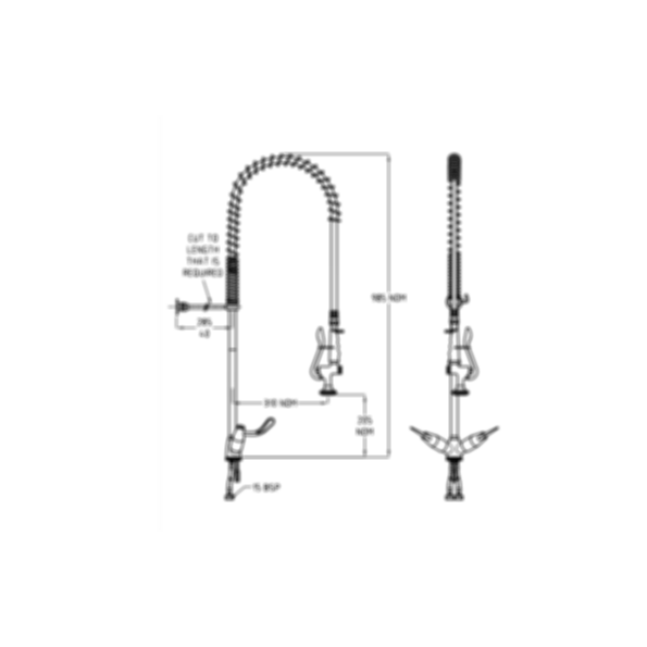 TF84HCS Ezy-Wash Pre Rinse Food Service Tap by Galvin Engineering