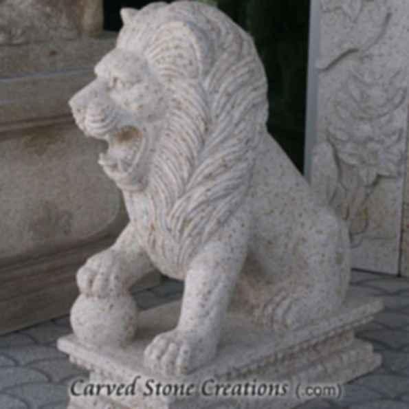 Regal Seated Lion Statue, Giallo Fantasia - 1480
