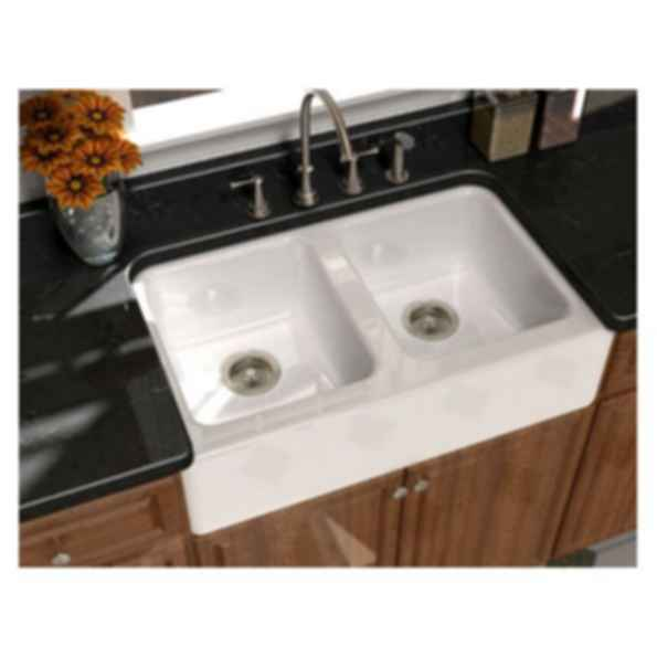 Serenade™ Front Apron Double Bowl Undercounter Kitchen Sink - S-8840-4U