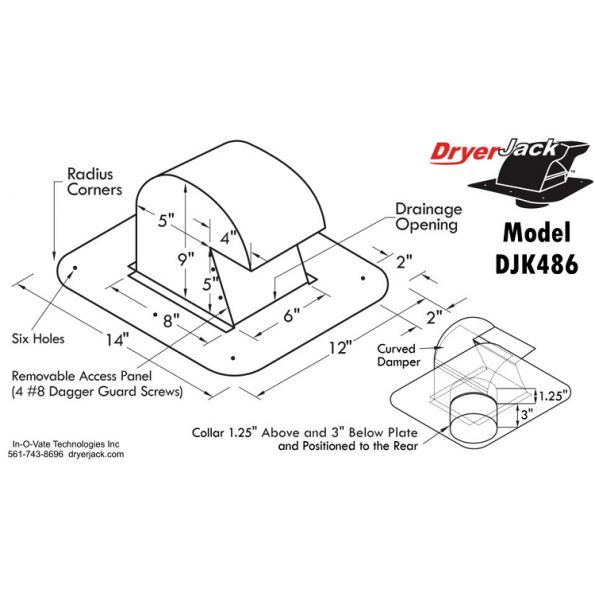 Dryerjack Extra Clearance Design 4inch Collar Vent