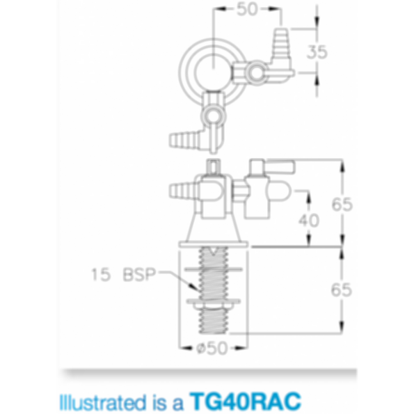 Lab 2-Way Straight and Right Angle Gas Turret Type 40-90 degree by Galvin Engineering