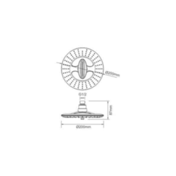 2 Function Round plastic shower head PRS2820CP